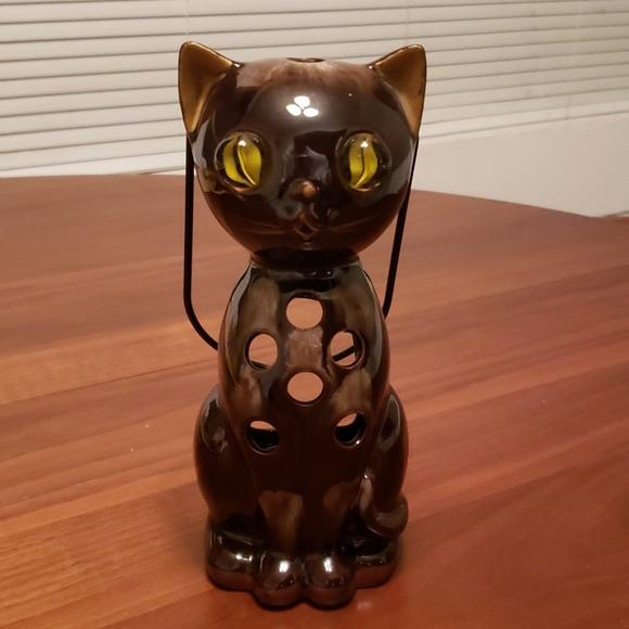 Vintage Cat Candle Lantern w/ Marble Eyes